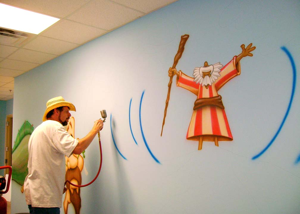 Atlanta Muralist Rick Baldwin Painting a Church Mural