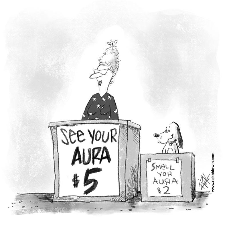 """""""Aura"""" cartoon by Rick Baldwin"""