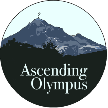 """Ascending Olympus"" text overlaid upon a mountain, a trail leading to the top with a question mark at the apex"