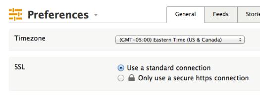 screenshot of NewsBlur's preferences showing the SSL option
