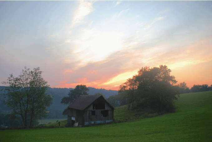 Rick Coplin - Hay Barn at Sunset