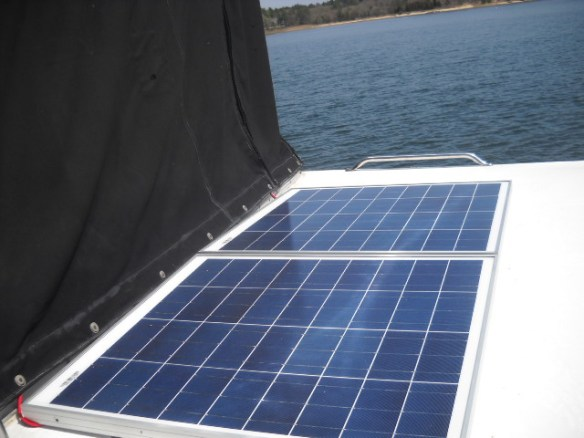 Solar array mounted on aft deck roof.
