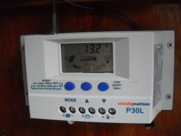 Charge controller. The solar panels pull nine amps in direct sunlight, and .5 amps in ambient light.