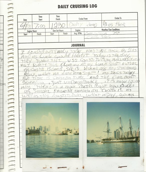 Log book excerp. To the page I would staple polaroids on one edge so that you could flip it up and read the log.