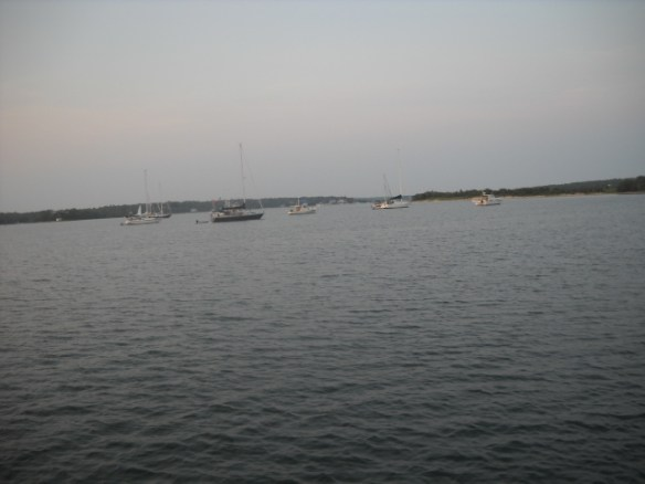 Nine boats stay the night.