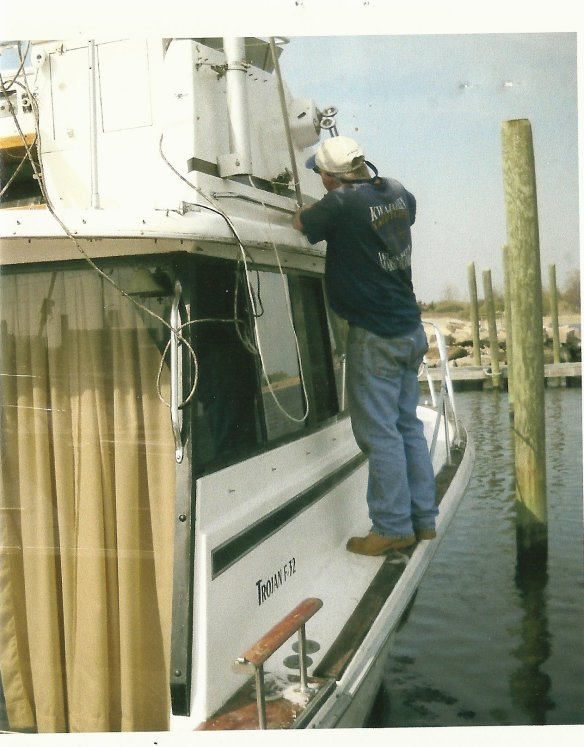 "April 10 2010: Captain Skerry preps ""Sea Horse"" minutes before selling it to us."