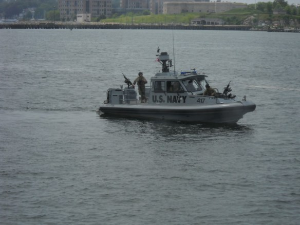 Security is high. One of four gunboats.