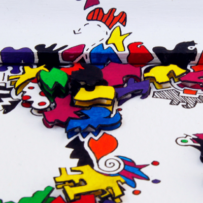 Layered multicolored drawing with 3-D effect called Celebration of Colour, made by Veerle Ritstier.
