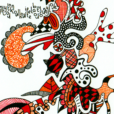Detail of colorful drawing called Stick, made by Veerle Ritstier.
