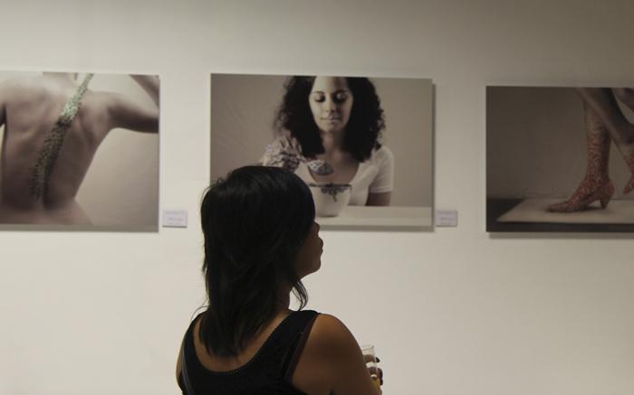 Art exhibit in World Trade Center Rotterdam with art of Veerle Ritstier and Rick van den Berg