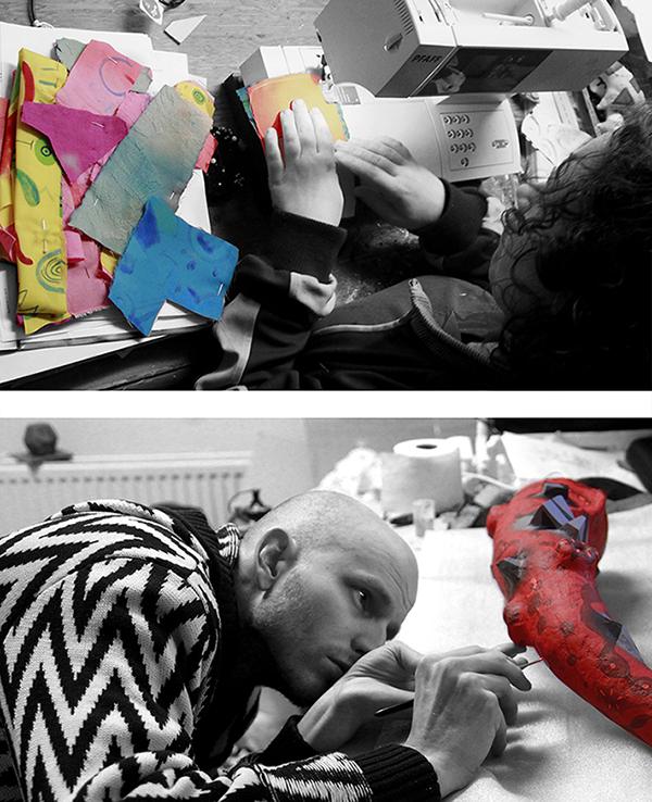 Rick & Veerle working on separate sculptures.