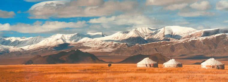 Mongolian lanscape...traditional Mongolian huts