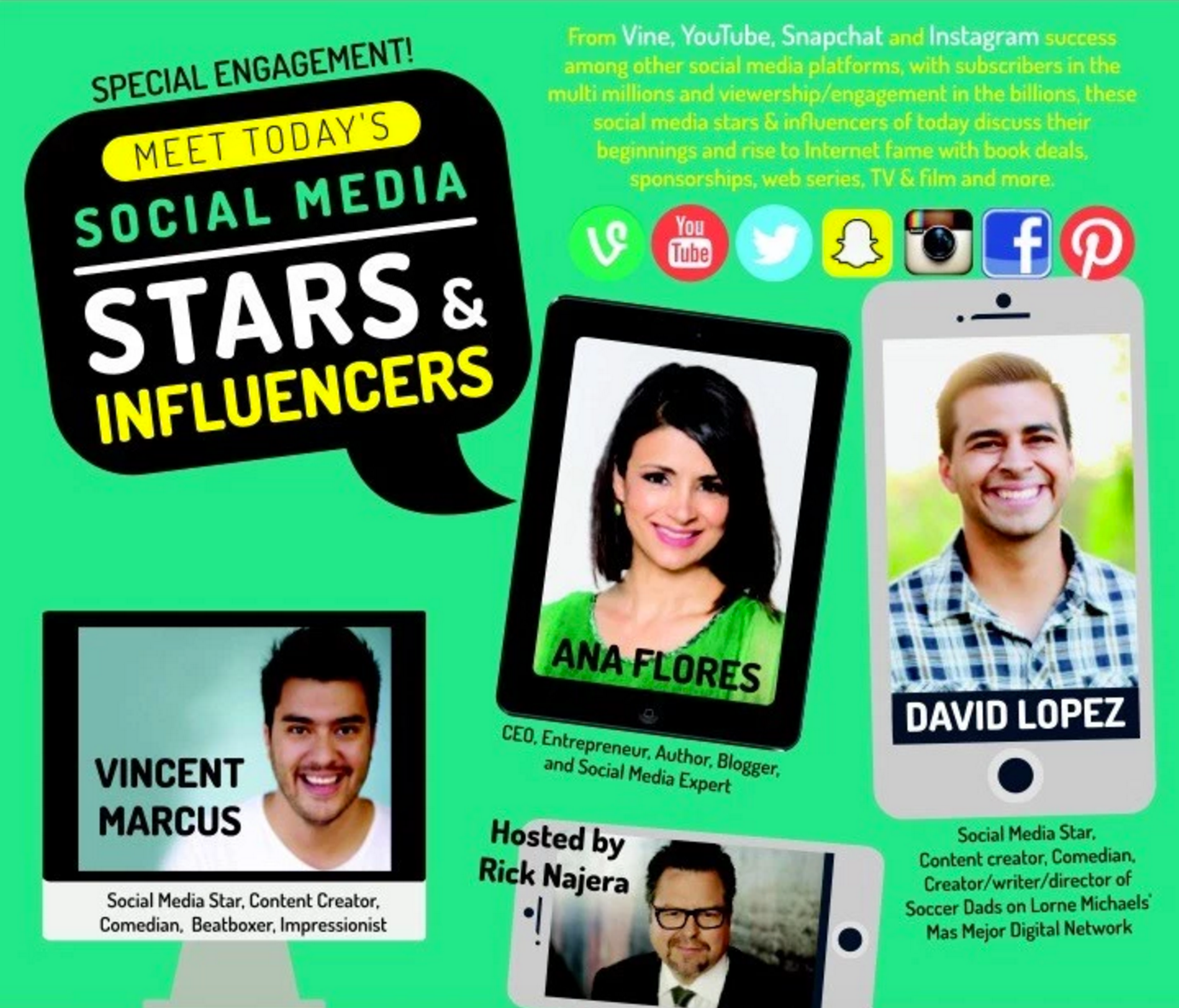 RICK NAJERA TO HOST LATINO THOUGHT MAKERS ALL-STAR SOCIAL MEDIA PANEL AT OXNARD COLLEGE PERFORMING ARTS CENTER APRIL 13