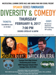 Diversity & Comedy Fundraiser with Rick Najera and Soraya Deen