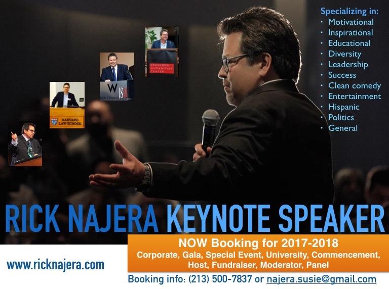 Rick Najera to Speak at JFK University, more for Hispanic Heritage Month, Now Booking