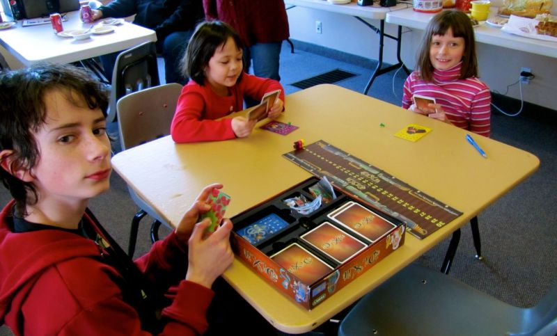 The kids also played some Dixit, though I'm not sure they knew the rules. Or any rules. Still, they seemed to have fun.