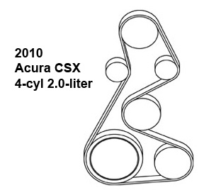 2010 Acura CSX 4-cyl 2.0-liter serpentine belt diagram