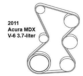2011 Acura MDX V-6 3.7 liter serpentine belt diagram