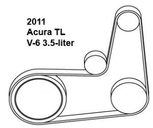 2011 Acura TL V-6 3.5-liter serpentine belt diagram