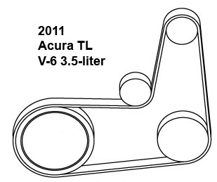 2011 Acura TL V-6 3.5-liter serpentine belt diagram