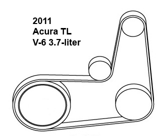 2011 Acura TL V-6 3.7-liter serpentine belt diagram