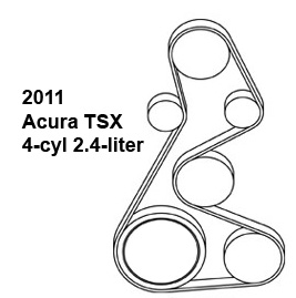 2011 Acura TSX 4-cyl 2.4-liter serpentine belt diagram