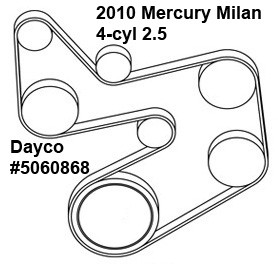 Mercury Milan 4-cyl. 2.5-liter serpentine belt diagram