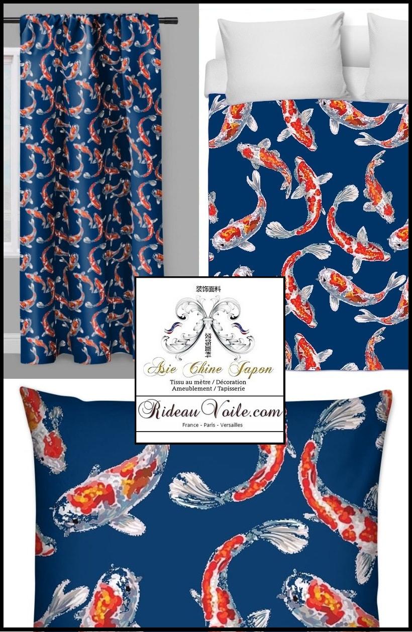 tissus motifs poissons carpes koi