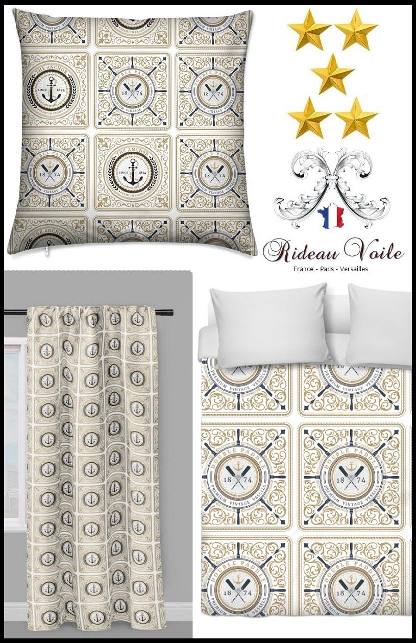 tissu style motif marin rideau