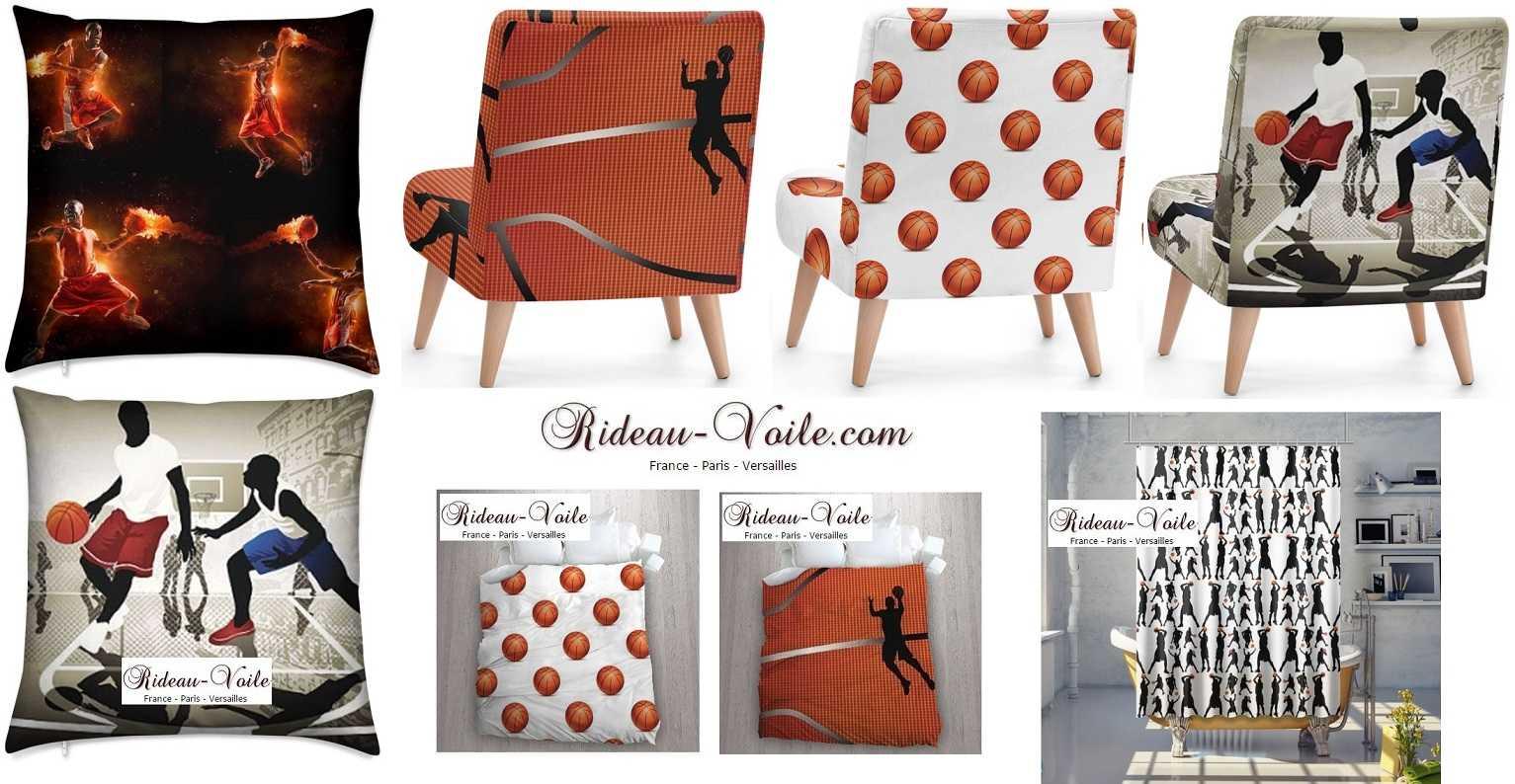 tissu metre motif basketball sport