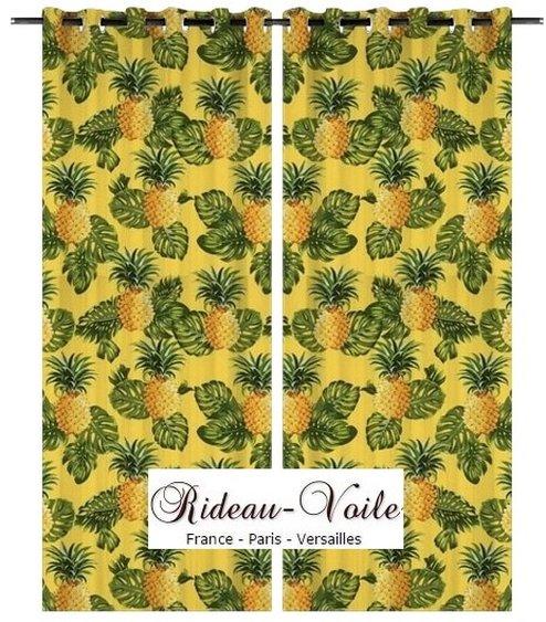 Rideau Tissu Motif Tropical Exotique Imprim