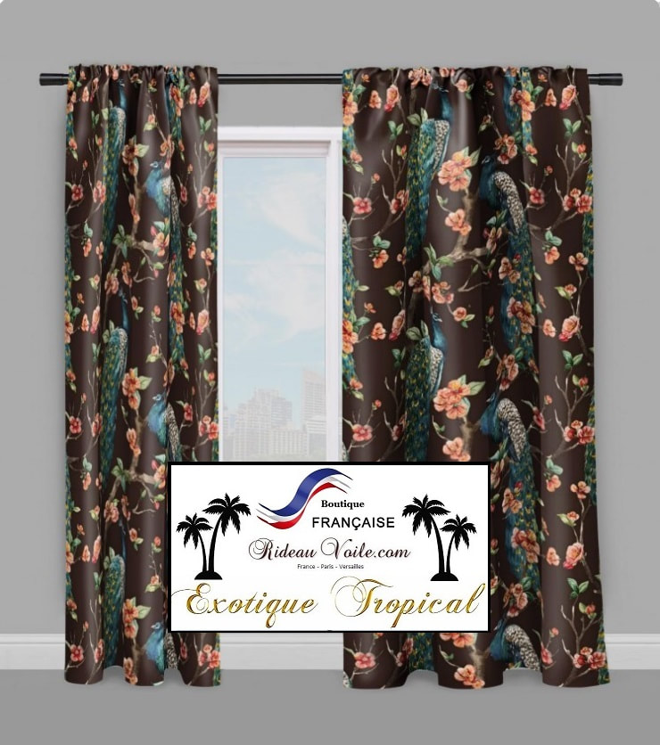 rideau tissu motif tropical exotique