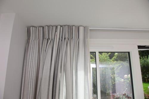 rideaux en coton raye sur mesure dans