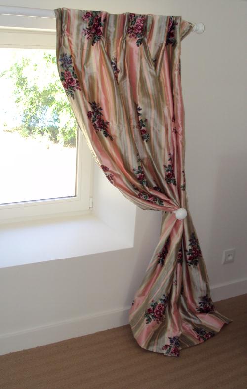 double rideaux en taffetas de soie raye