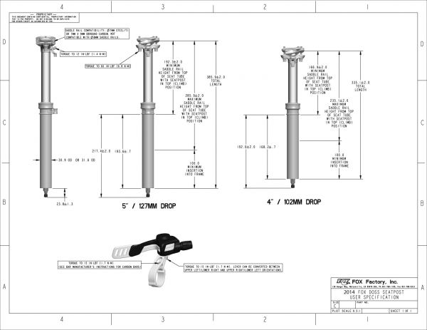 DOSS Adjustable-Height Seatpost User Specifications
