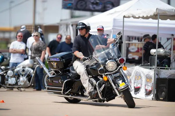Edmond Police Officers demonstrate motorcycles skills on their Harley Davidson motorcycles at Thunder Run.