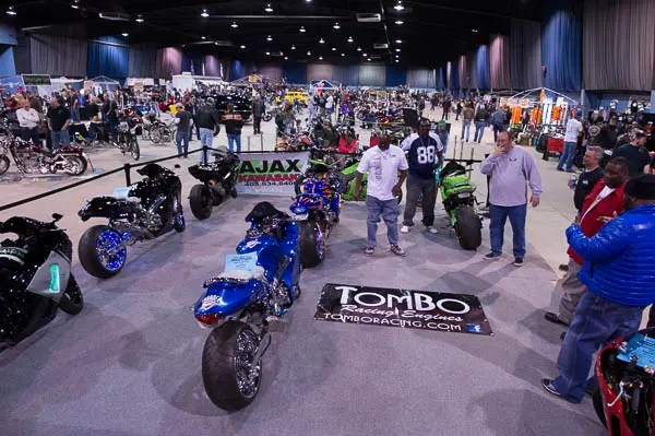 A view of the Tombo Racing booth at the OKC Motorcycle Show