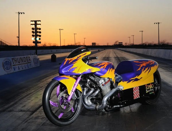 A custom Tombo Racing bike at Thunder Valley Raceway