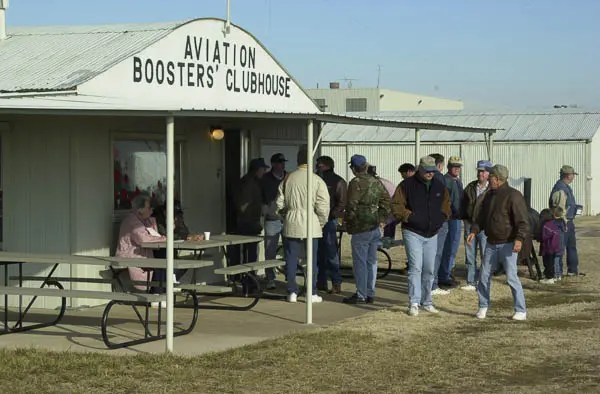 Pilots from around Oklahoma and surrounding states gather the first Saturday of every month for breakfast at the Ponca City airport.