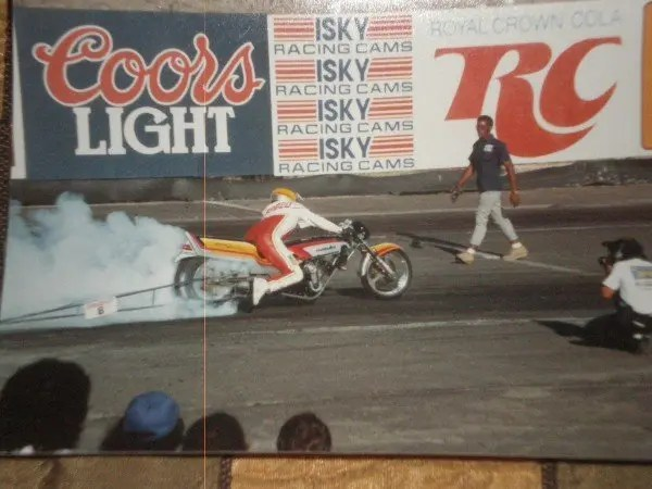 Tommy Bolton at the drag strip in the early 1980's