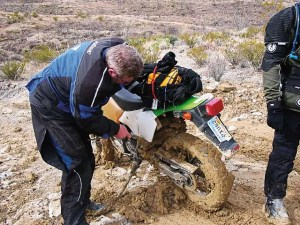 The bentonite clay turned to cement as it dried, clogging up wheels and burning out clutches in two motorcycles.