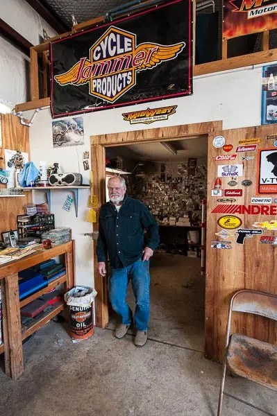 Tommy spends most of his days working on motorcycles in his home shop in Stillwater.