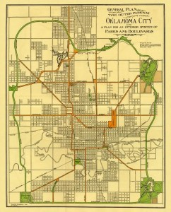 Map of 1910 Grand Boulevard Loop as part of OKC Parks Plan of 1910
