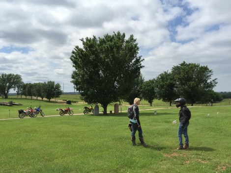 We stopped by the Boot Hill section of Summit View Cemetery on our dual sport motorcycles.
