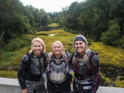 We stopped for pictures over the Little River. From left - Kay Pratt (wife), Connie Hamilton (friend) and Emily Mathews (daughter).