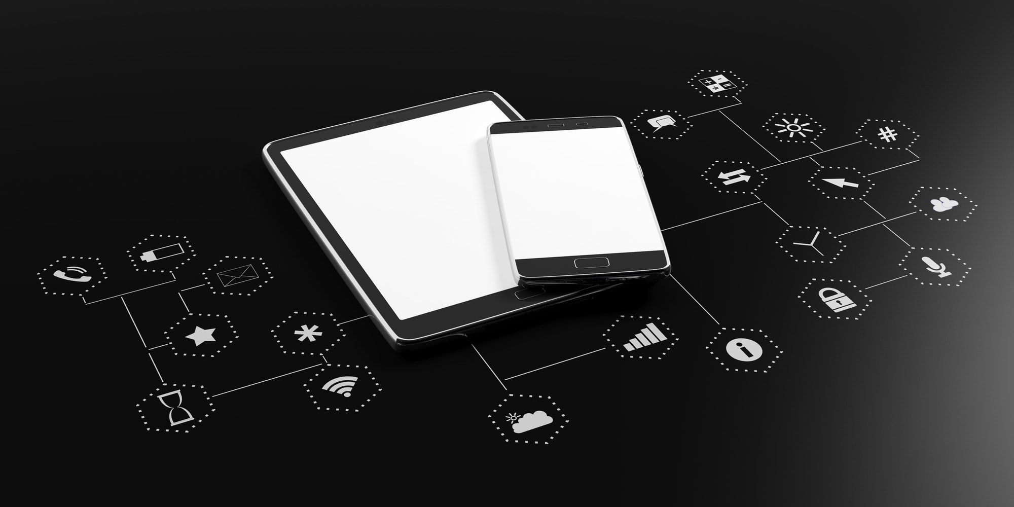 Smartphone, tablet with blank screen on black background with app icons. 3d illustration