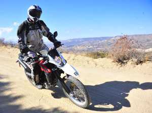 Metzeler Enduro 3 Sahara tires offer good traction on- and off-road.