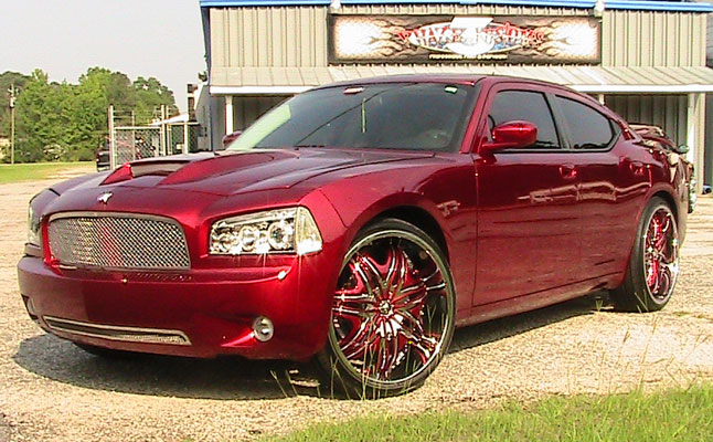rides cars dodge charger candy red