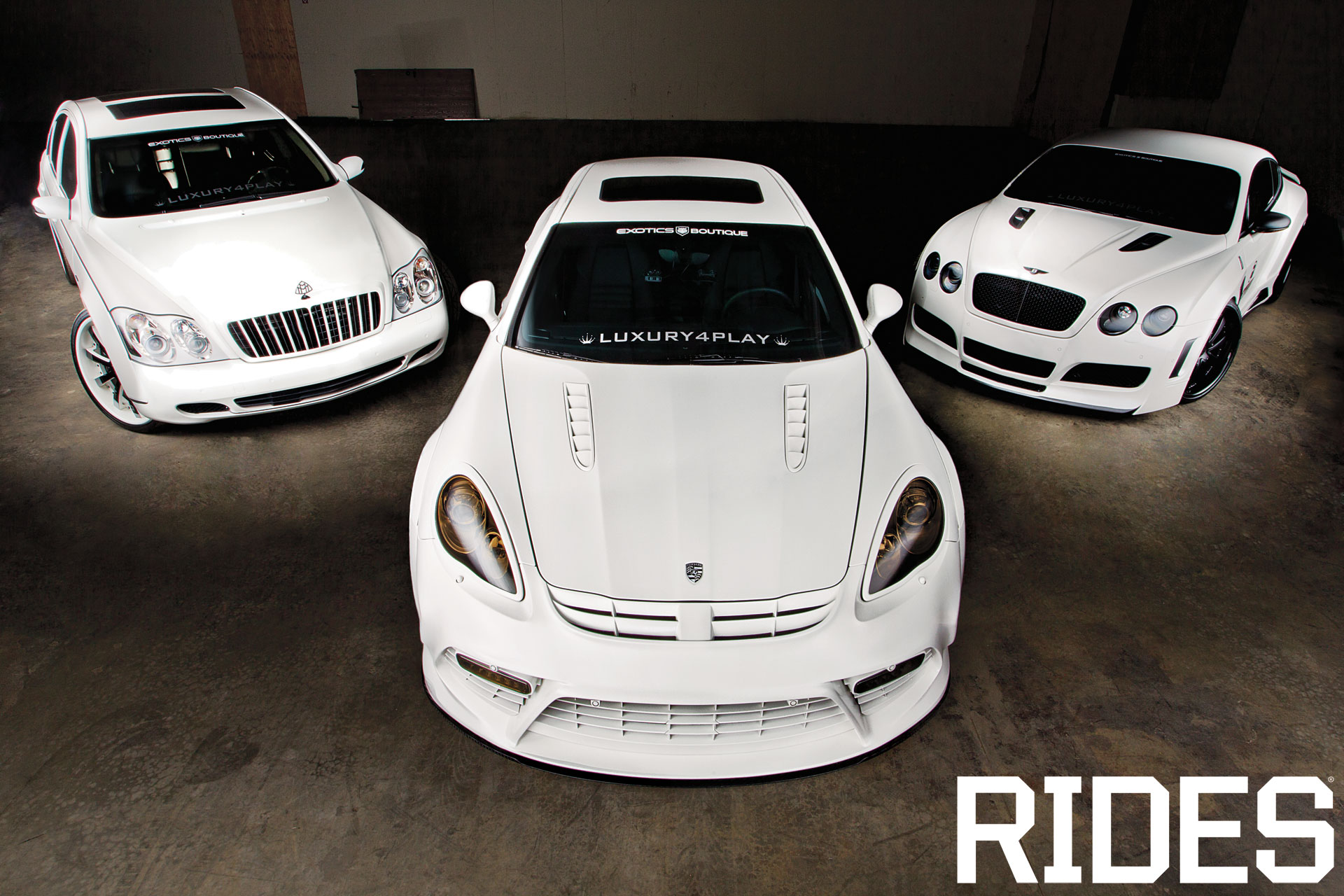 rides cars platinum luxury4play trio porsche panamera matte white bentley continental gt maybach 57