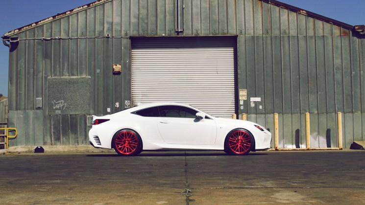 White-Lexus-RC350-Savini-Wheels-Black-di-Forza-BM13-Brushed-Red-3